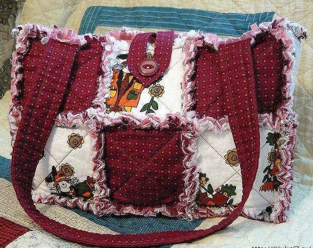 Лоскутная сумка бордовая