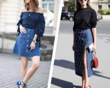 модные фасоны джинсовых юбок