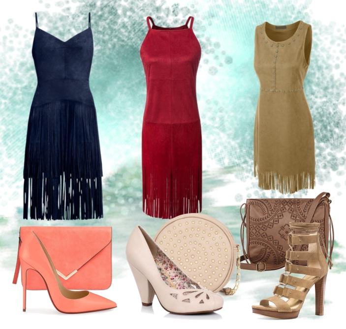 модные луки - платье из искусственной замши