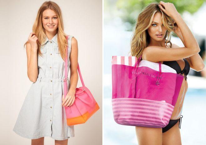 Розовая сумка пляжная
