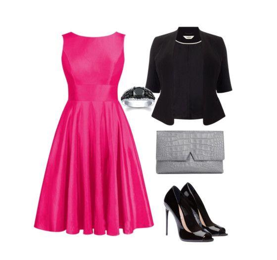 Ярко-розовое платье с черным пиджаком и туфлями