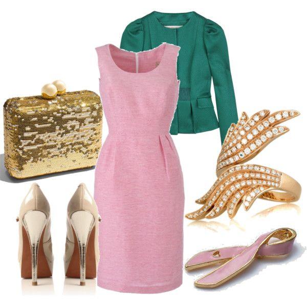 Нежно-розовый лук с золотыми туфлями
