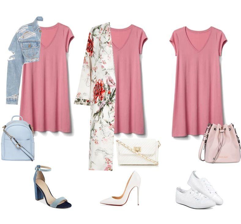 Нежно-розовое платье с чем носить