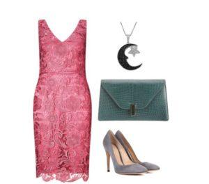 Розовое платье с серыми туфлями