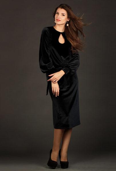 деловой стиль велюровое платье