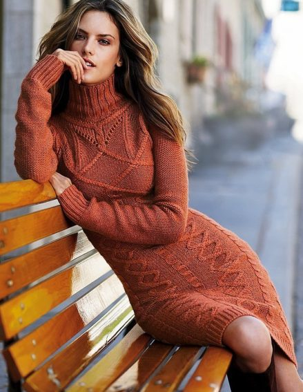 шерстяное платье с рукавами