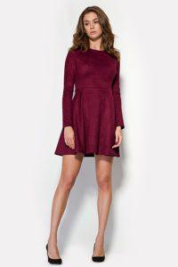 замшевое платье винного цвета