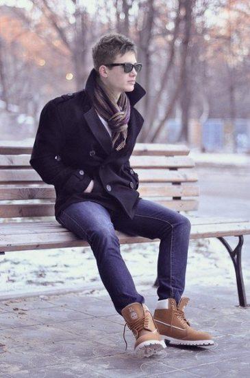 мужской образ с зимними кроссовками