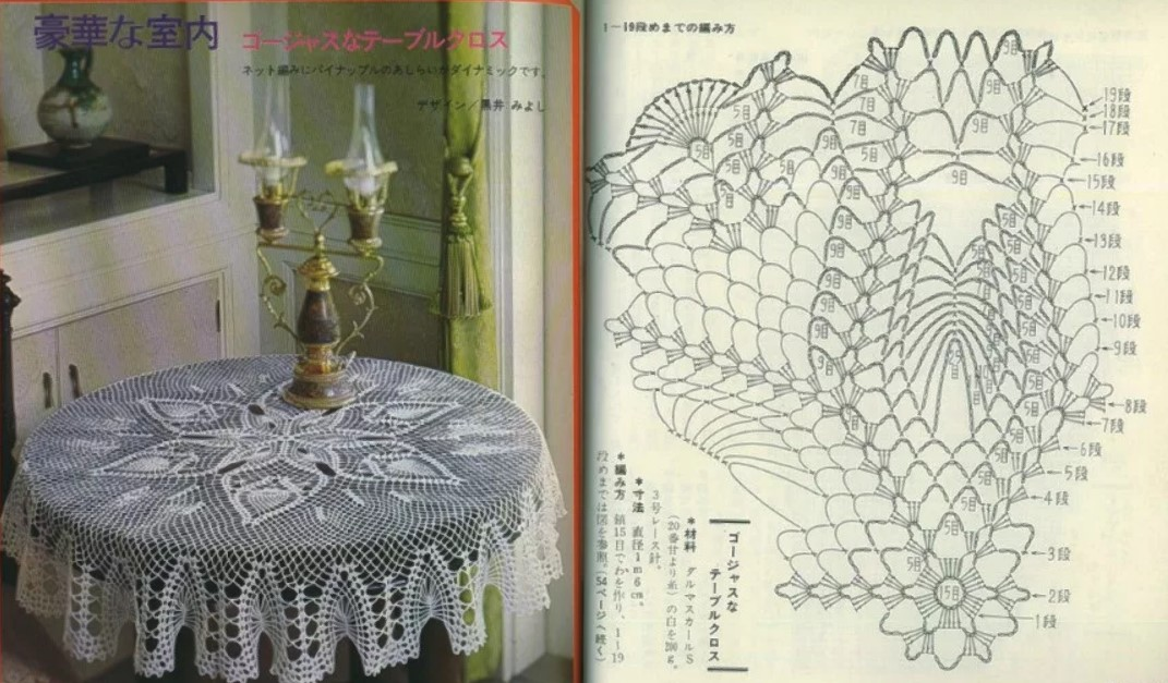 схемы скатерти крючком с японских журналов 5