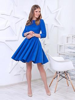 синее платье из искусственной замши
