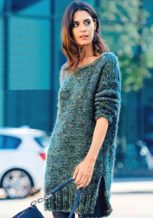Меланжевое теплое сине-зеленое платье на зиму