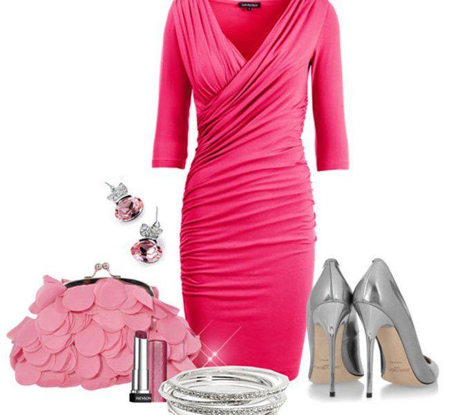 Модный лук с розовой сумкой