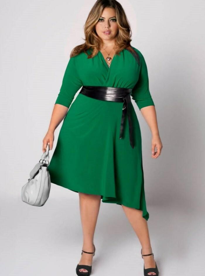 платье с запахом на полной
