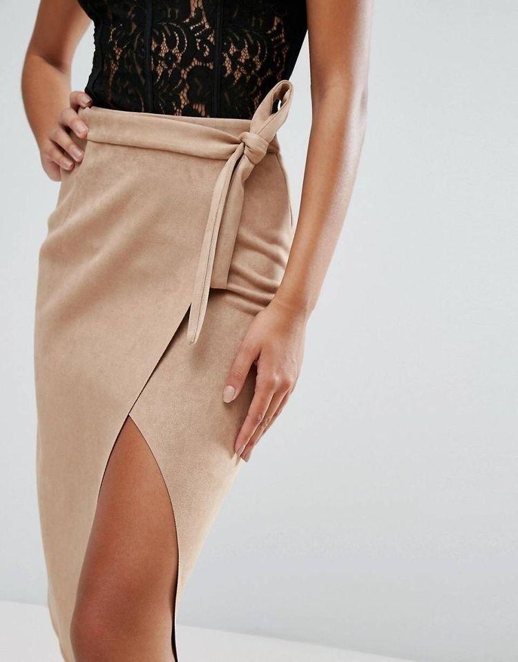 Замшевая юбка без подгибки