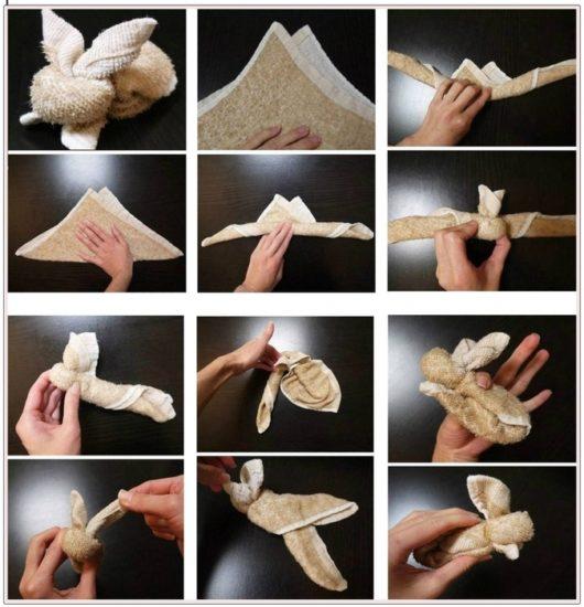 как сделать зайчика из полотенца