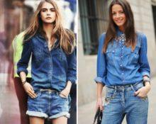 джинсовая рубашка образы