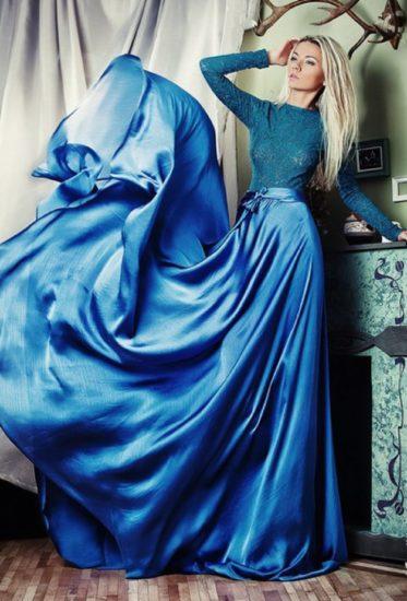 платье из шёлка в пол
