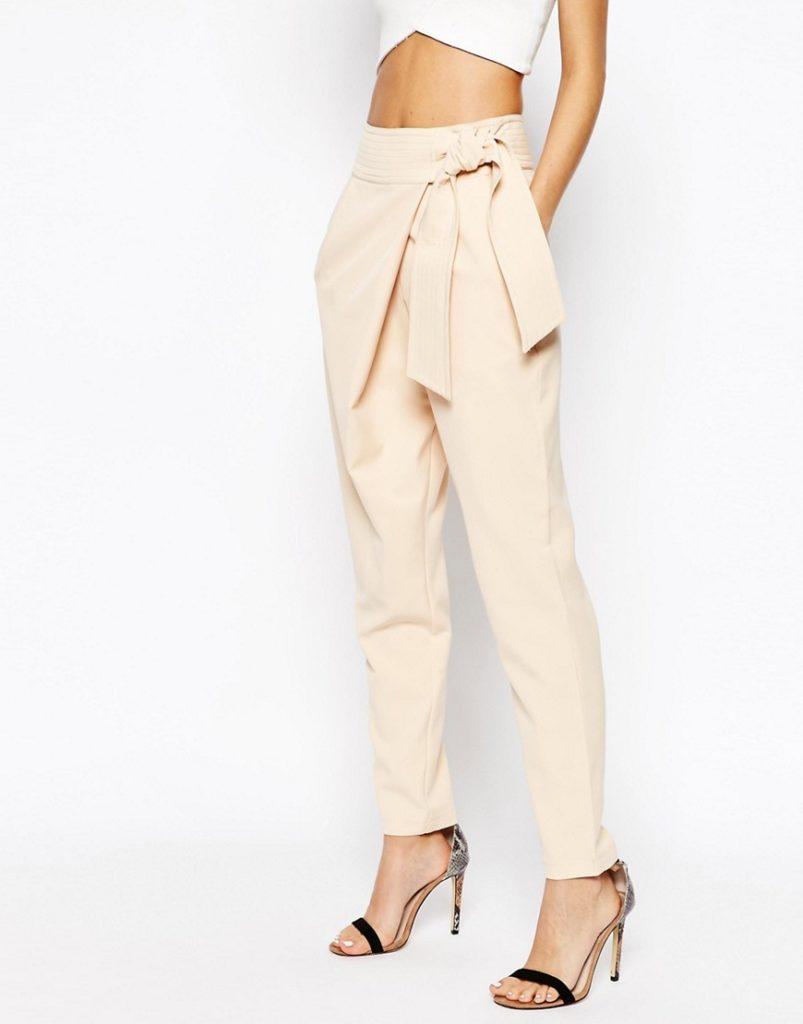 брюки с завязкой на поясе