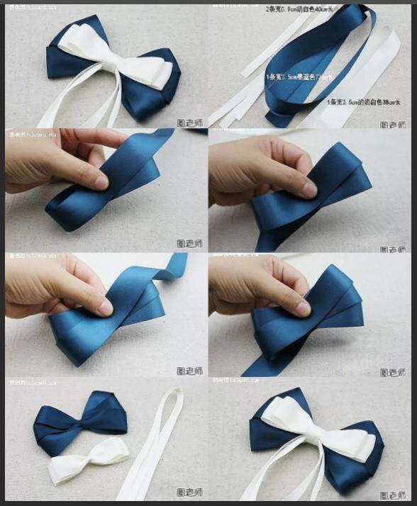 Бант двухцветный сине-белый
