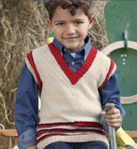 Безрукавка жилет для мальчика красно-бежевый