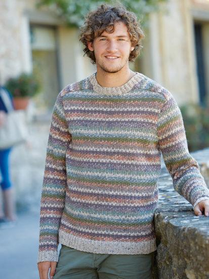 свитер для мужчины из меланжевой пряжи