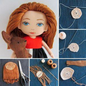 Как сделать кукле волосы из ниток