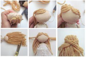 Как сделать кукле волосы из ниток своими руками