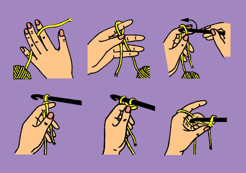 Набор первых петель крючком
