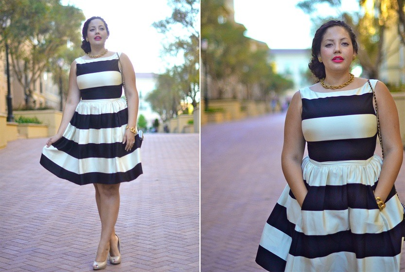 Платья для полных дам с горизонтальными полосками