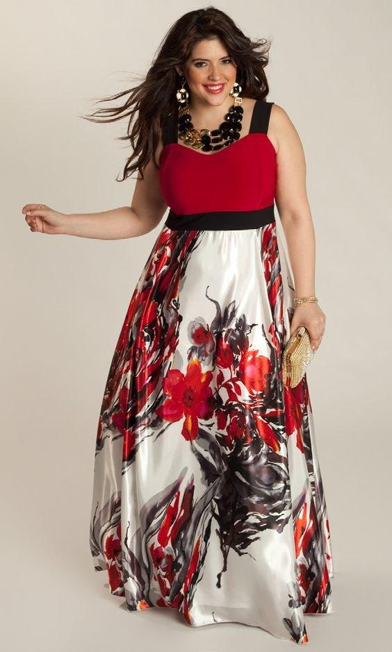 Платья для полных яркого цвета