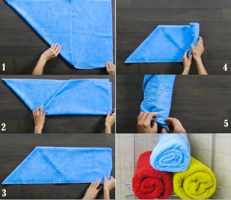 Полотенце как свернуть в трубочку рулон валик