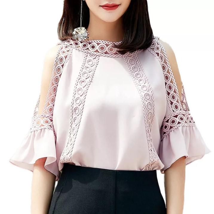 Шифон блузка с кружевами