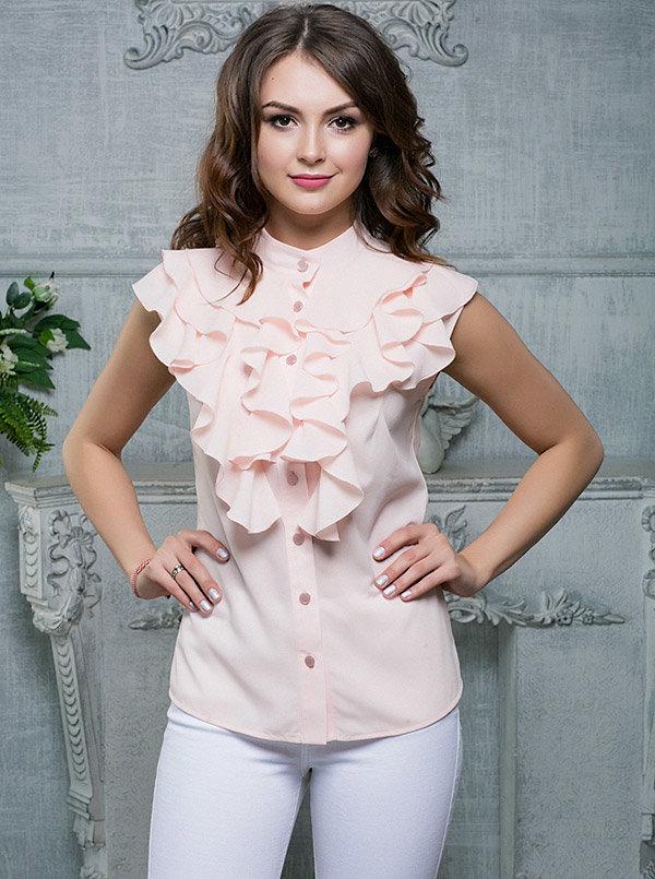 Шифон блузка с планкой и рюшами