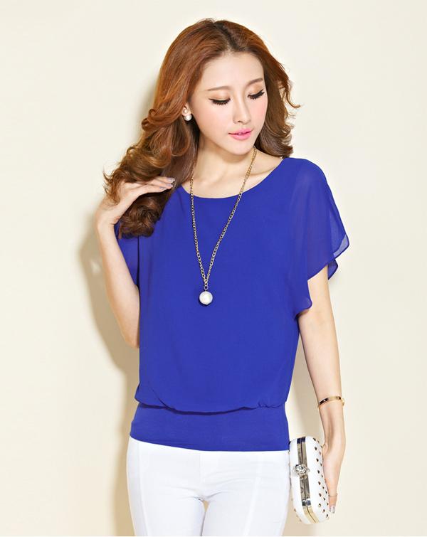 Шифон королевский синий цвет блузки
