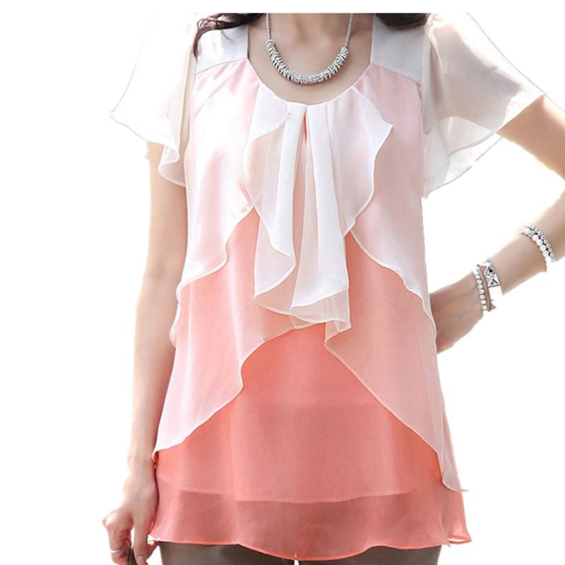 Шифон нарядная белокоралловая блузка