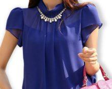 Шифон синяя блузка