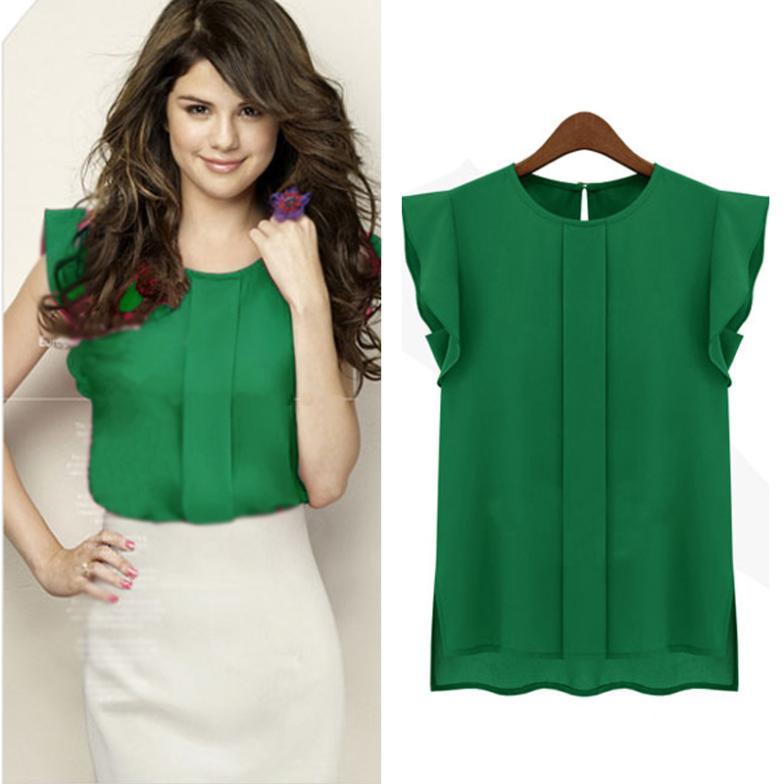 Шифон зеленая блузка