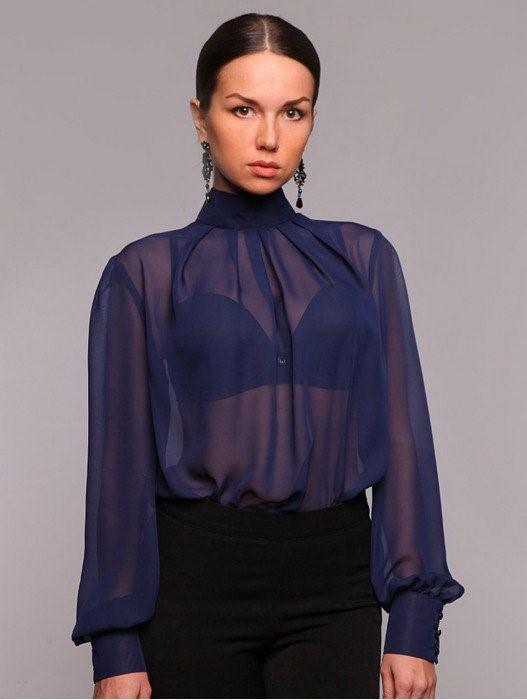 Шифоновые блузки с длинными рукавами