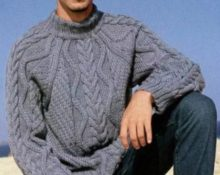 Свитер мужской регланом серый с косами