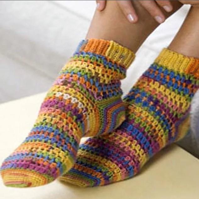 Узоры носки крючком