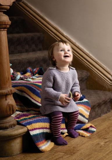 пледик для ребёнка из меланжевой пряжи