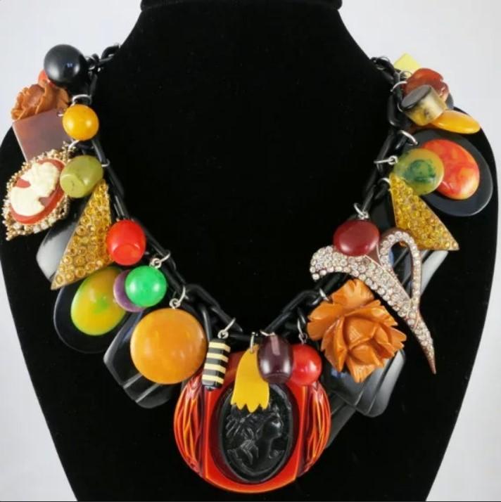бакелит бакелит ожерелье из разноцветных бусин