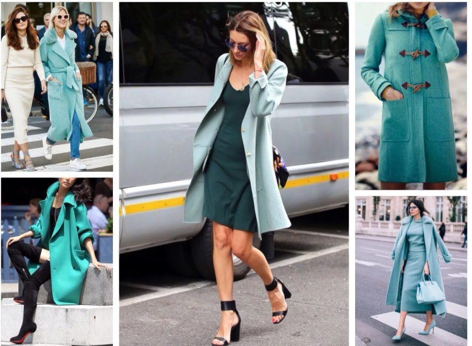бирюзовый цвет пальто