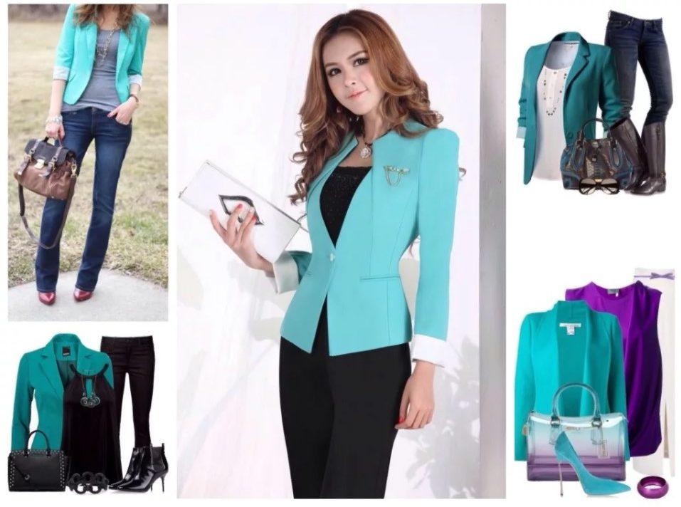 бирюзовый цвет пиджак модные луки