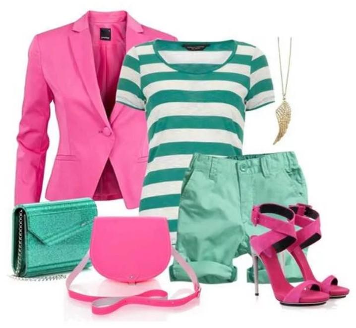 бирюзовый цвет с розовой одеждой