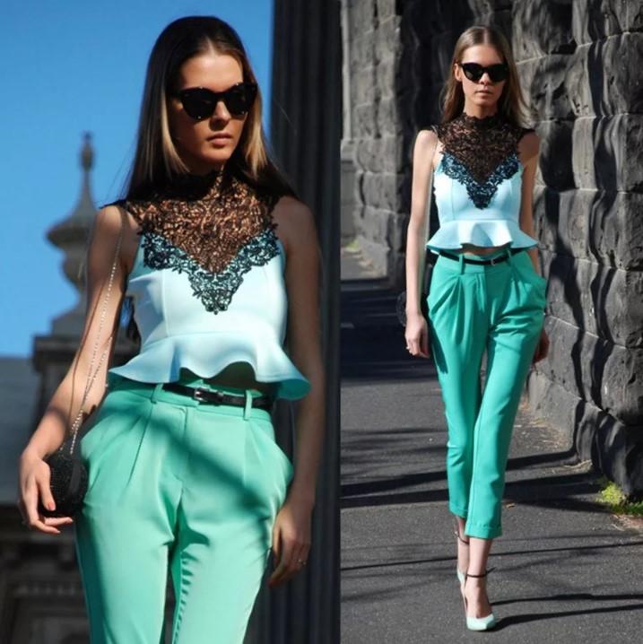 бирюзовый цвет укороченные брюки