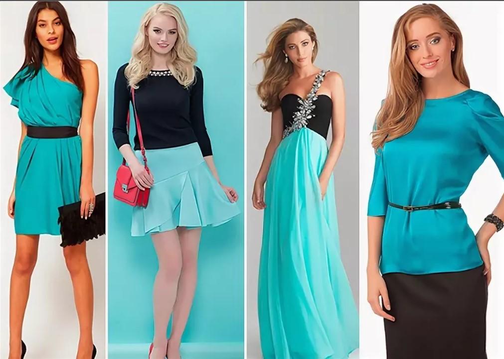 бирюзовый цвет в одежде разной