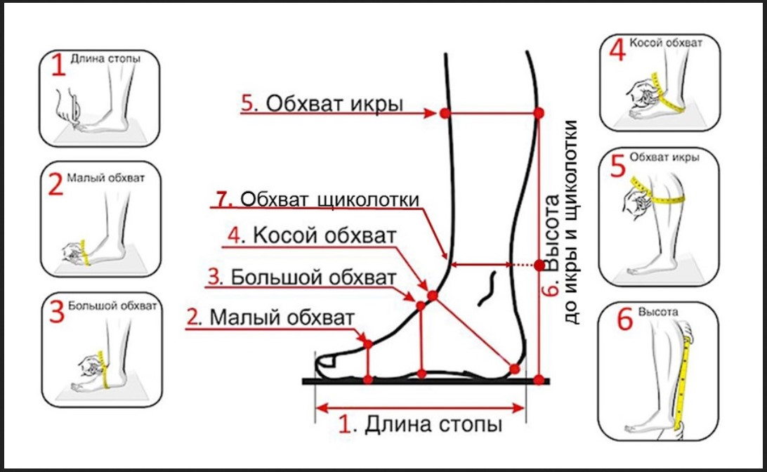 бурки мерки ноги для сапог