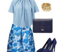 сочетания с голубым в одежде