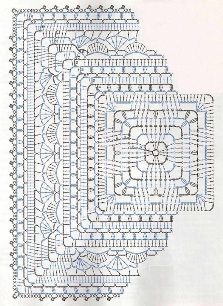 плотная скатерть из столбиков с накидами